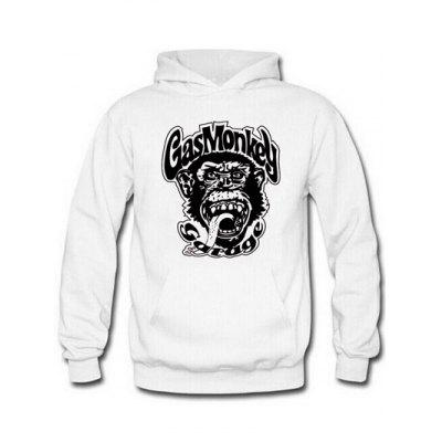 Buy WHITE AND BLACK Orangutan and Graphic Print Hoodie for $17.62 in GearBest store