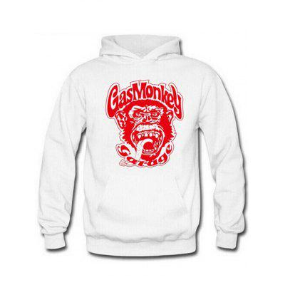 Buy RED AND WHITE Orangutan and Graphic Print Hoodie for $17.62 in GearBest store