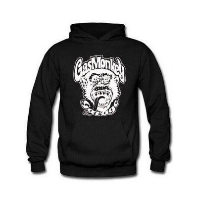 Buy BLACK Orangutan and Graphic Print Hoodie for $9.20 in GearBest store