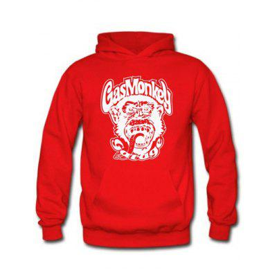 Buy RED Orangutan and Graphic Print Hoodie for $17.62 in GearBest store