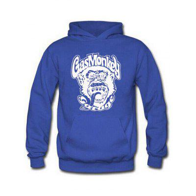Buy BLUE Orangutan and Graphic Print Hoodie for $17.62 in GearBest store