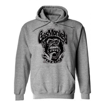Buy GRAY Orangutan and Graphic Print Hoodie for $17.62 in GearBest store