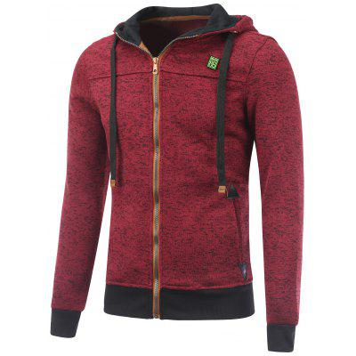 Hooded Cotton Blends Applique Zip Up Hoodie
