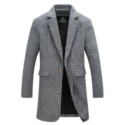 Flap Pocket Lapel Tweed Wool Mix Coat