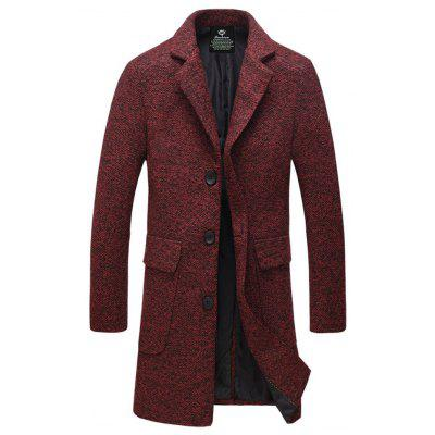 Buy DARK RED 4XL Lapel Flap Pocket Tweed Wool Mix Coat for $40.34 in GearBest store