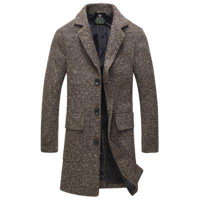 Buy COFFEE Lapel Flap Pocket Tweed Wool Mix Coat for $49.56 in GearBest store