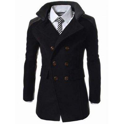 black knitted collar double breasted spliced wool mix coat. Black Bedroom Furniture Sets. Home Design Ideas