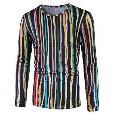 Colorful 3D Vertical Stripe Print T-Shirt