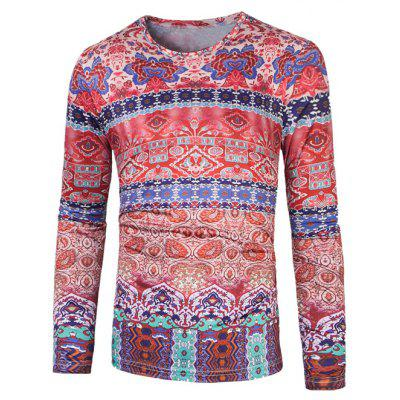 Colorful 3D Style Florals Stampa T-shirt etnica