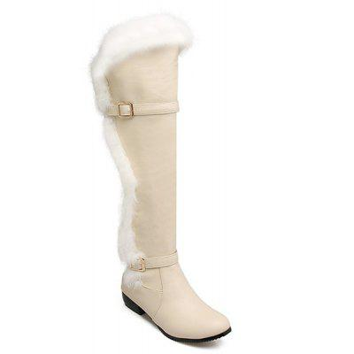 Faux Fur Double Buckle Thigh Boots