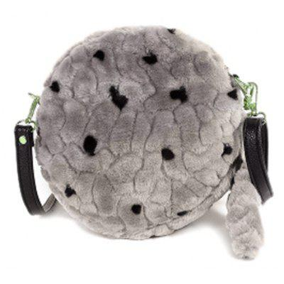 Faux Fur Plush Round Crossbody Bag