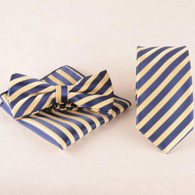 Striped Tie Pocket Square Bow Tie