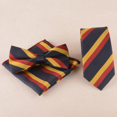 Casual Color Block Tie Pocket Square Bow Tie