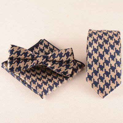 Casual Houndstooth Pattern Tie Pocket Square Bow Tie