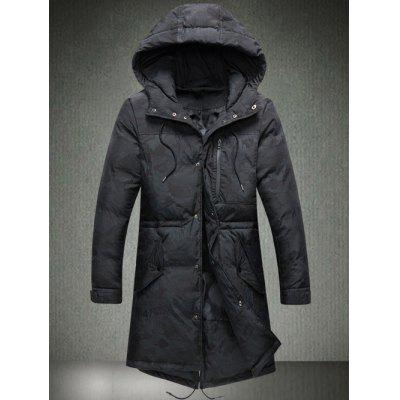 Zip Pocket Back Vent Drawstring Hooded Padded Coat