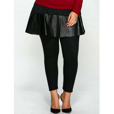Skinny Plus Size PU Skirted Pants