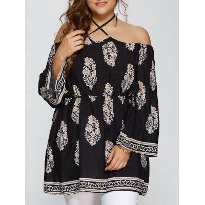 Plus Size Club Printed Halter Off The Shoulder Flare Sleeve Dress