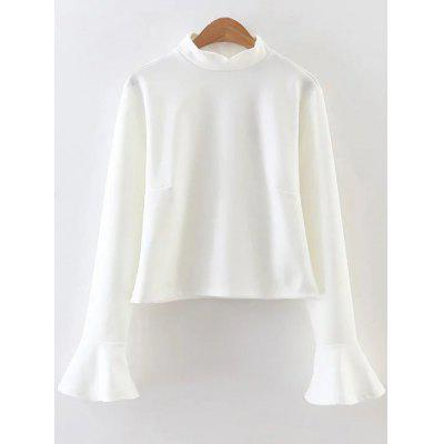 Flare Sleeve Ruffled Fitting Blouse