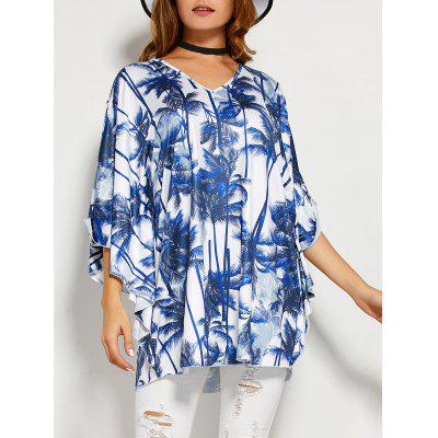 Coconut Tree Butterfly Sleeve Open Back Blouse