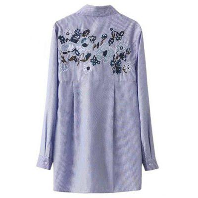 Self Tie Striped Floral Embroidered Shirt