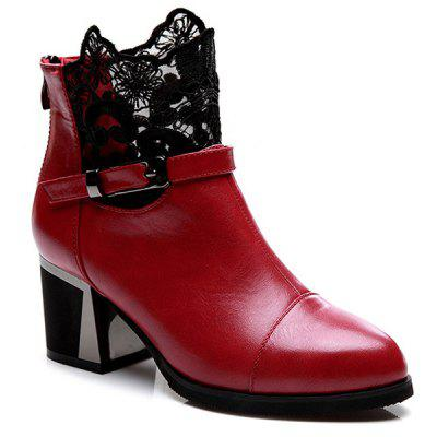 Buckle Strap Zipper Lace Ankle Boots