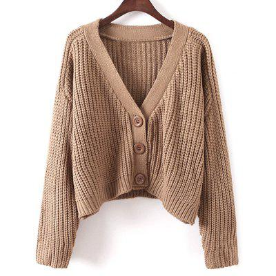 V Neck Cropped Chunky Cardigan
