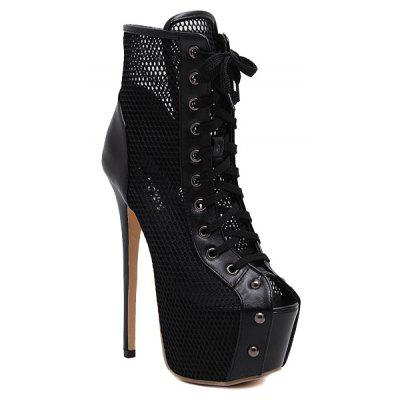 Stiletto Heel Mesh Panel Peep Toe Boots