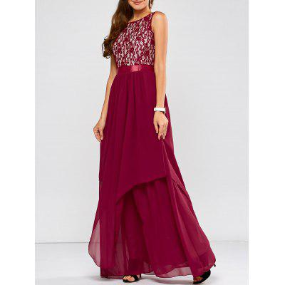 Buy WINE RED M Lace Panel Chiffon Maxi Evening Engagement Prom Dress for $28.93 in GearBest store