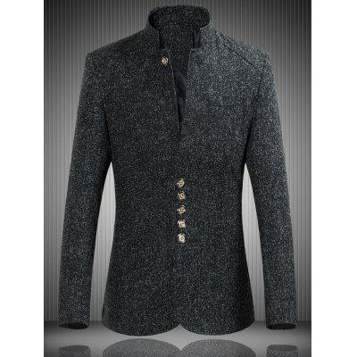 Mandarin Collar Single Breasted Heather Jacket