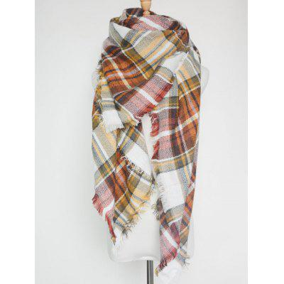 Outdoor Plaid Print Fringed Square Blanket Shawl Scarf chic various plaid pattern tassel winter scarf for women