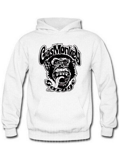 WHITE AND BLACK Orangutan and Graphic Print Hoodie