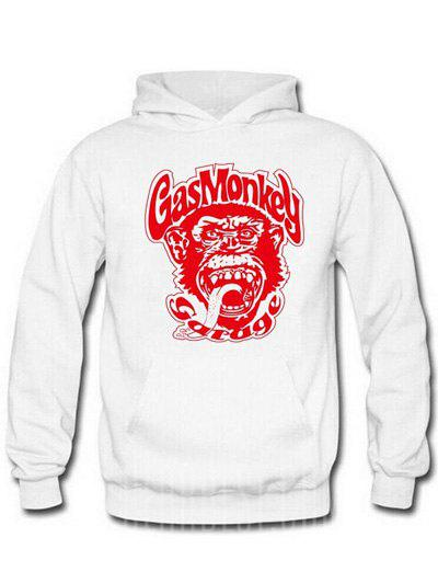 RED AND WHITE Orangutan and Graphic Print Hoodie