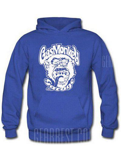 BLUE Orangutan and Graphic Print Hoodie