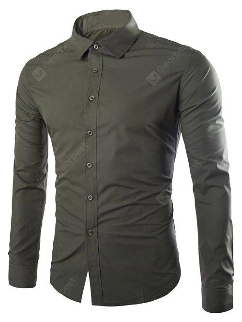 Single Breasted Shirt Collar Long Sleeve Shirt