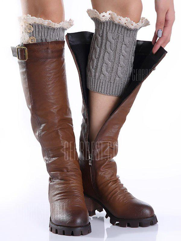 Buy Lace Button Cable Knit Boot Cuffs LIGHT GRAY