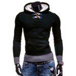 Stylish Hooded Horn Button Patched Splicing Slimming Long Sleeve Polyester Hoodie For Men - DEEP BLUE