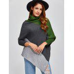cheap Color Block Asymmetric Pullover Cape Sweater