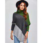 Color Block Asymmetric Pullover Cape Sweater deal