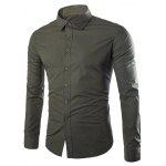 Single Breasted Shirt Collar Long Sleeve Shirt - ARMY GREEN
