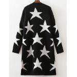 cheap Collarless Two-Tone Star Long Cardigan