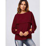 cheap Slit Sleeve Overlay Blouse