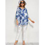 best Coconut Tree Butterfly Sleeve Open Back Blouse