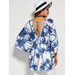 Coconut Tree Butterfly Sleeve Open Back Blouse deal