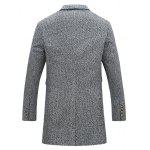 cheap Flap Pocket Lapel Tweed Wool Mix Coat