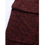 Lapel Flap Pocket Tweed Wool Mix Coat - DARK RED