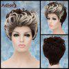 Adiors Double Color Short Fluffy Curly Lolita Cosplay Synthetic Wig - WHITE AND BLACK