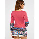 Open Front Printed Draped Blouse - ROSE RED