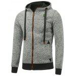 Hooded Cotton Blends Applique Zip Up Hoodie - LIGHT GRAY