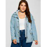 Buy Plus Size Hooded Button Denim Coat 2XL CLOUDY