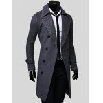 Double Breasted Overcoat with Side Pockets - GRAY